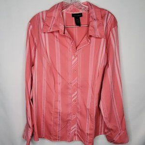Lane Bryant Pink Striped Button Down Shirt 14/16
